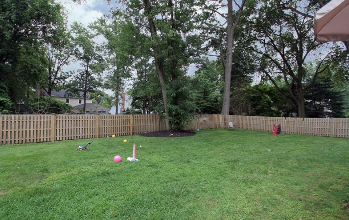 Level yard with privacy fence