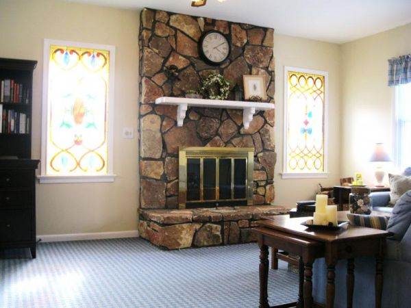 Fabulous Living/Great Room with wood burning stone fireplace